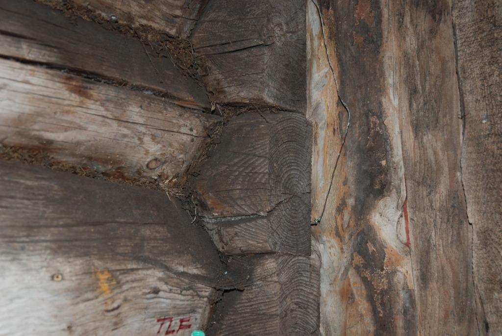 Nydelige tømmerveggene hos Plankefrue