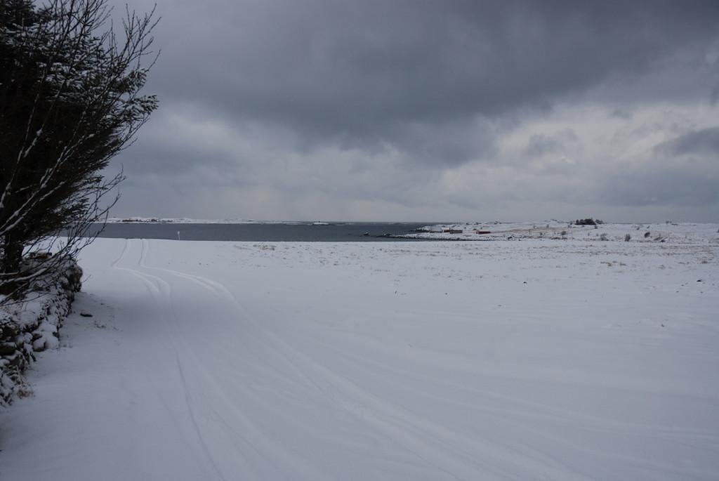 Utsikten med snø til Hustadvika